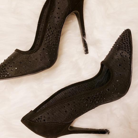 cd8ddaa807 Charlotte Russe Shoes   Black Crystal Sparkle Black Mesh Rhinestone ...